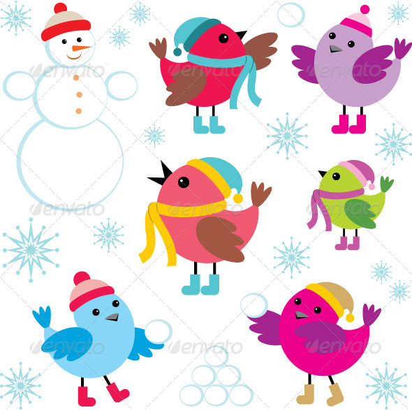 GraphicRiver Set of Winter Birds and Snowman 3697203