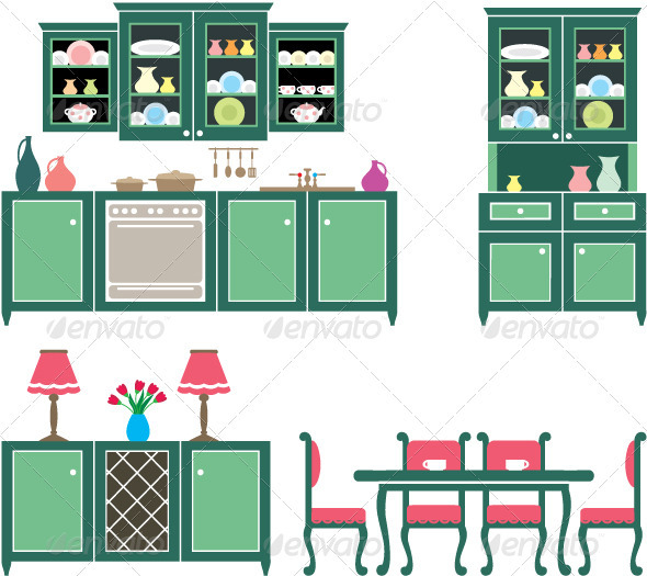 GraphicRiver Set of Kitchen Furniture 3697205