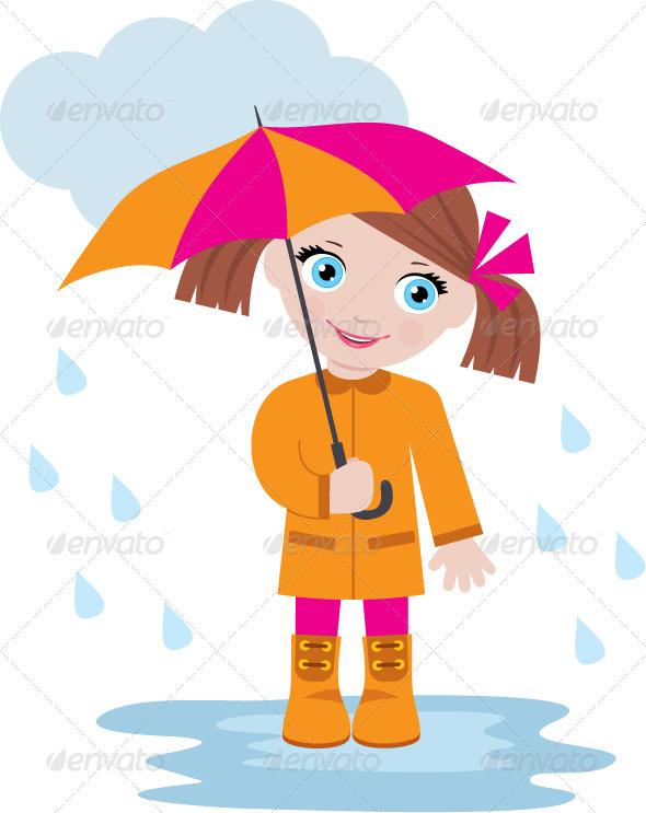 GraphicRiver Little Girl Under an Umbrella 3697212