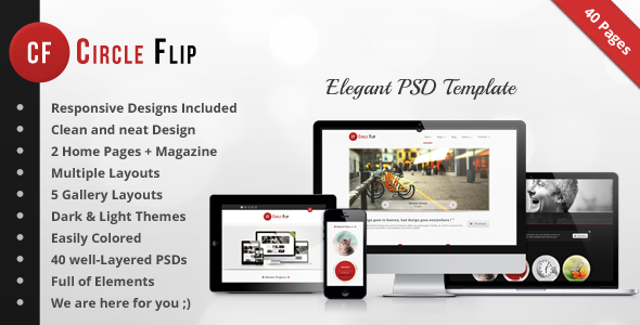 Circle Flip PSD - Multipurpose Responsive Theme