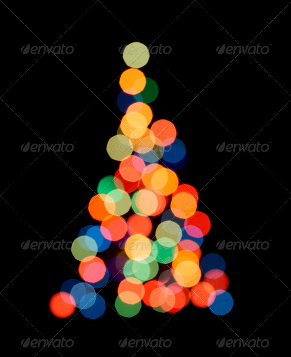 Silhouette of Christmas tree - Stock Photo - Images