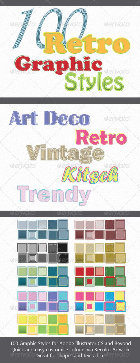 GraphicRiver 100 Retro Graphic Styles for Adobe Illustrator 3698145