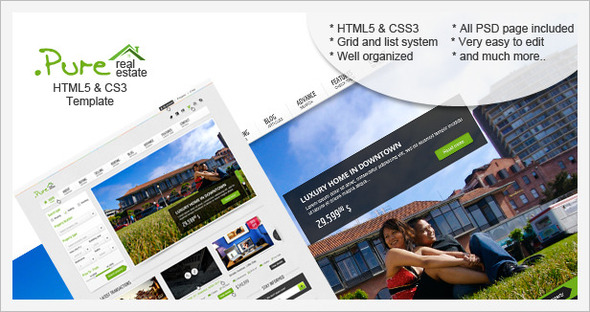 ThemeForest .Pure Real Estate HTML5 & CSS3 Template 3530919