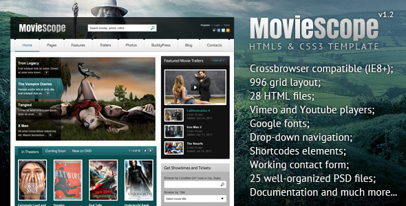 ThemeForest MovieScope HTML5 & CSS3 Portal Template 3540641
