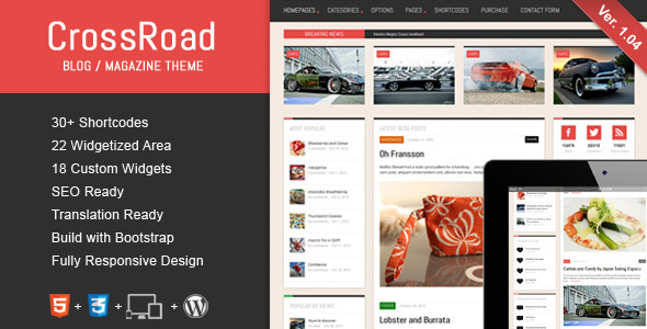ThemeForest CrossRoad Responsive WordPress Magazine Blog 3265556