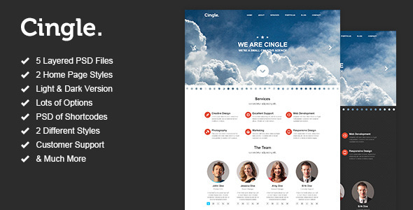 ThemeForest Cingle One Page Portfolio PSD Template 3701300
