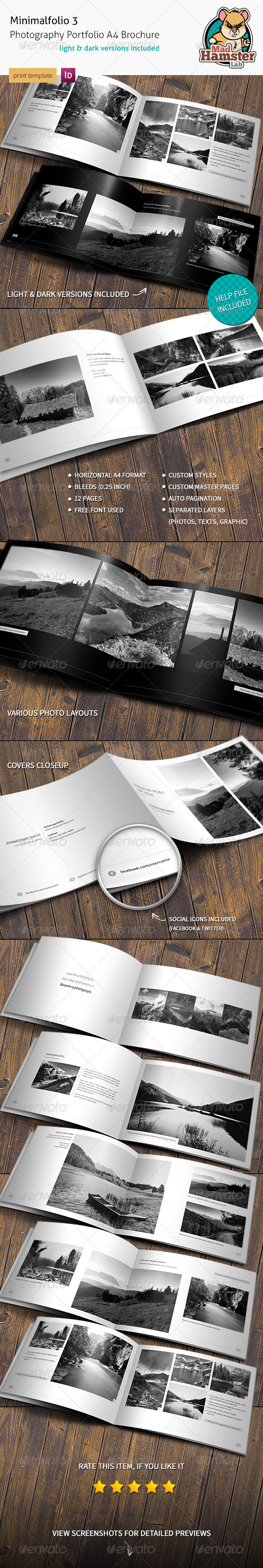 GraphicRiver Minimalfolio 3 Photography Portfolio A4 Brochure 3701359