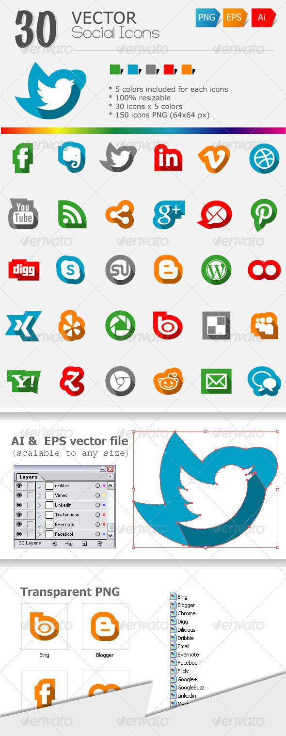 30 Social Media Icons - Web Icons