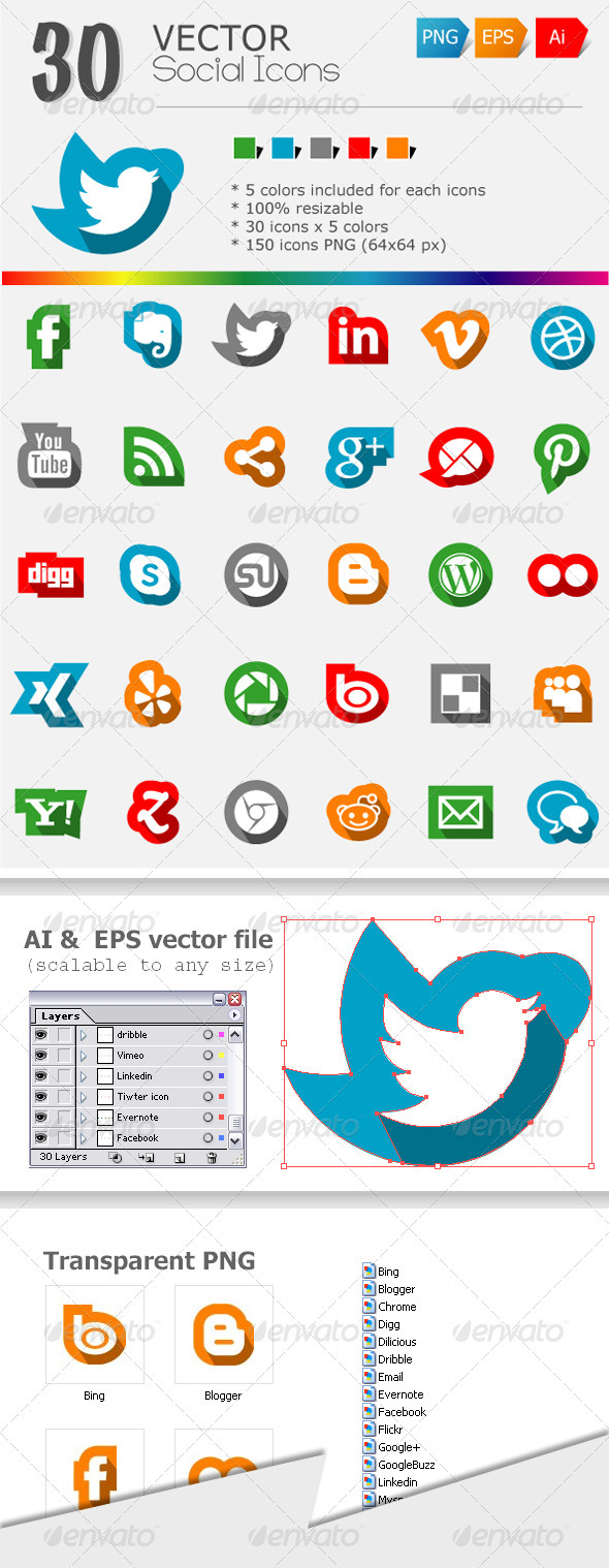 GraphicRiver 30 Social Media Icons 3701361