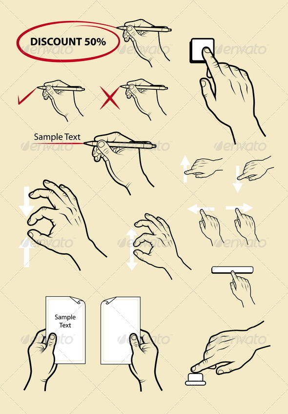 Hand Signs - Writing, Press, Zoom - Web Elements Vectors