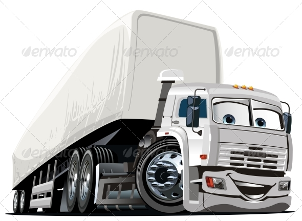 GraphicRiver Vector Cartoon Semi Truck 3702078