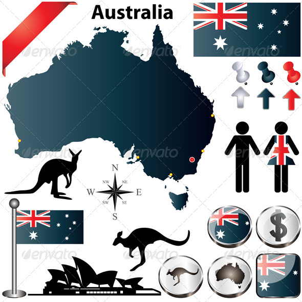 GraphicRiver Australia Map and Elements 3702500