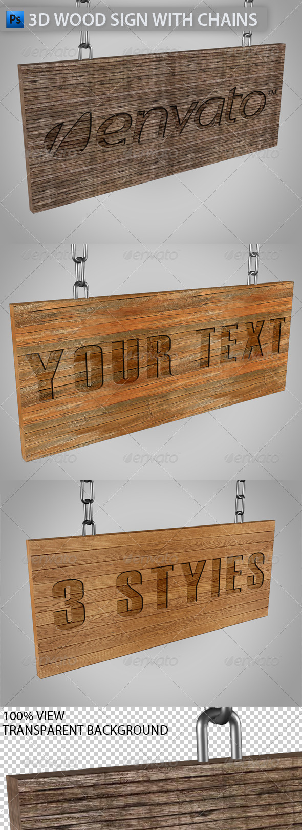 3D Wood Sign with Chains - Objects 3D Renders