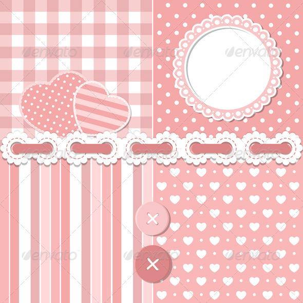 GraphicRiver Pink Scrapbook Set 3702743