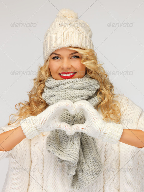 PhotoDune beautiful woman in a winter clothes showing heart 3707046