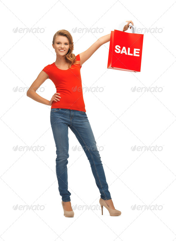 PhotoDune teenage girl in red t-shirt with shopping bag 3707049