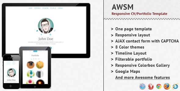 AWSM - Responsive CV Portfolio Template