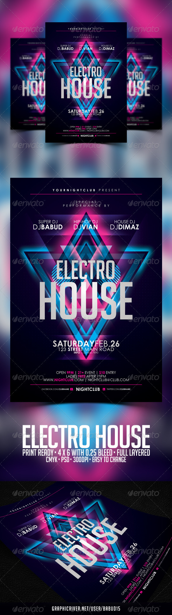 GraphicRiver Electro House Flyer Template 3703965