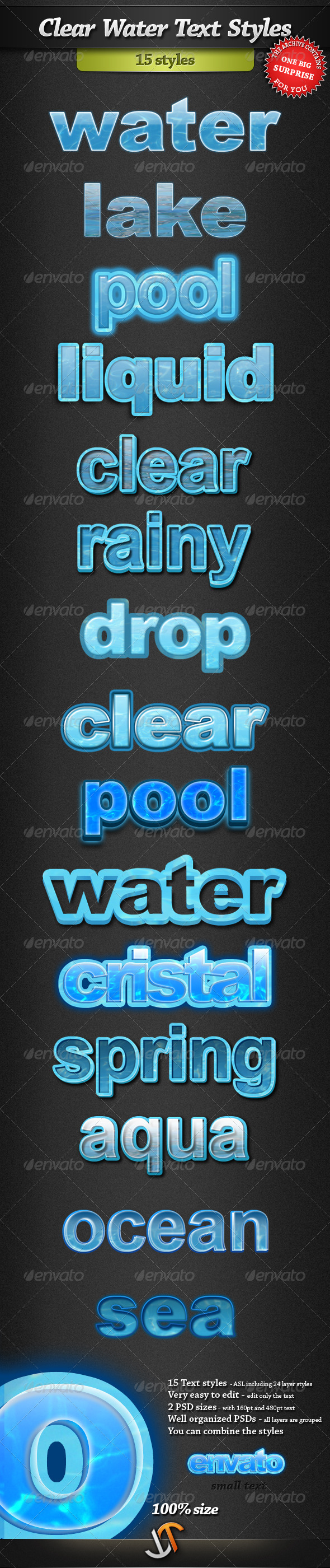 Graphic River Clear Water Text Styles Add-ons -  Photoshop  Styles  Text Effects 398484