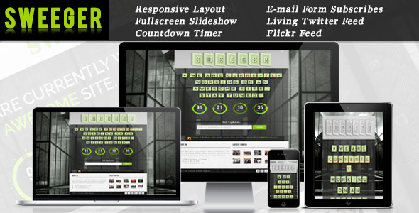 ThemeForest Sweeger Responsive Coming Soon Page 3688129