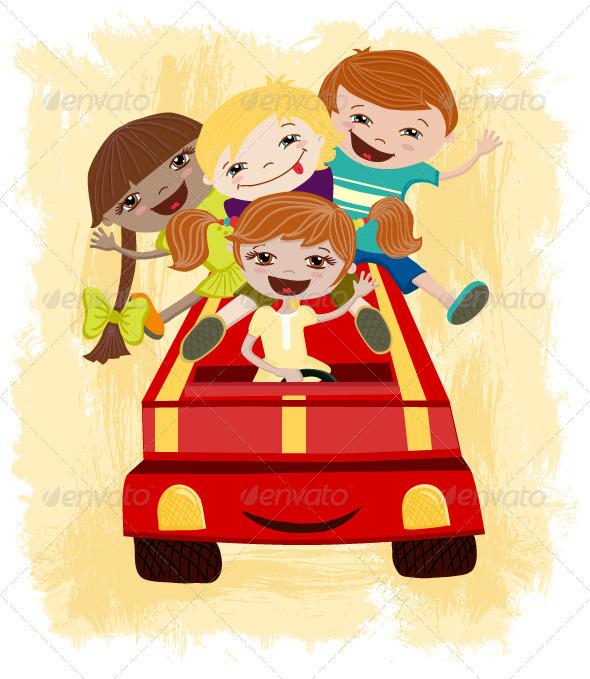 GraphicRiver Children Driving 3704790