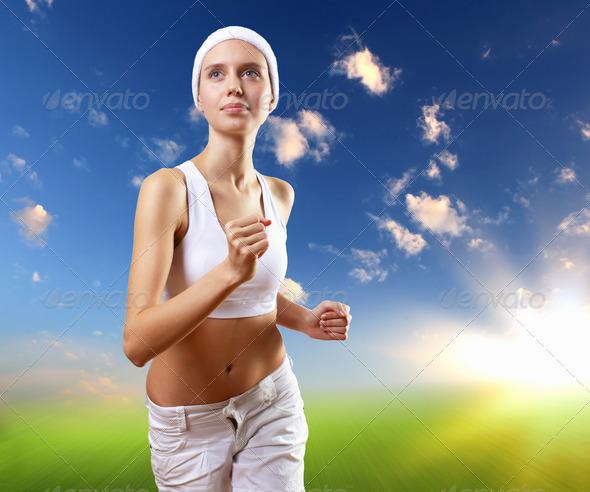 PhotoDune Young pretty woman in sport wear running 3706038