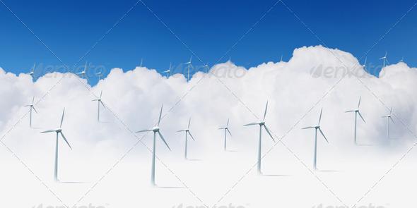 PhotoDune modern white wind turbines 3706051