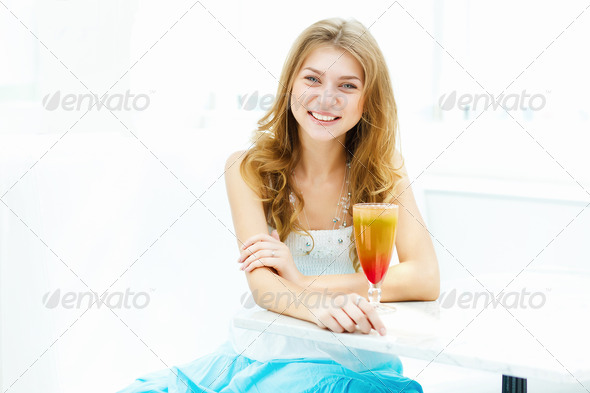 PhotoDune Young woman with a glass of drink 3706065