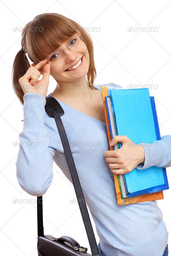 PhotoDune Happy student with books 3706067