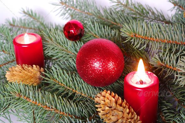 PhotoDune candle and christmas balls 3706945