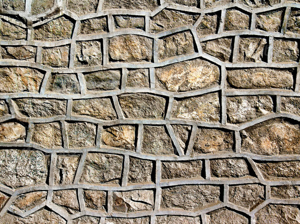 stone wall reinforced cement - Stock Photo - Images