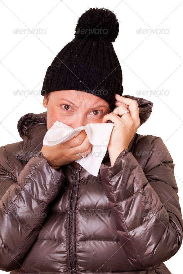 Upset Sick Woman Blowing Her Nose - Stock Photo - Images
