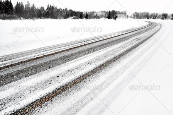 PhotoDune Asphalt road in winter 3706709