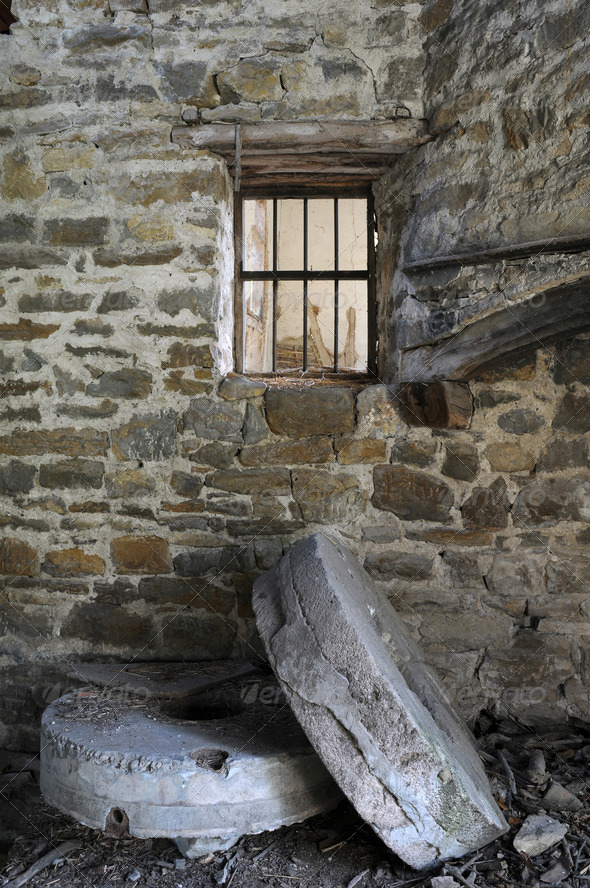 Old Millstones in the Abandoned Mill - Stock Photo - Images