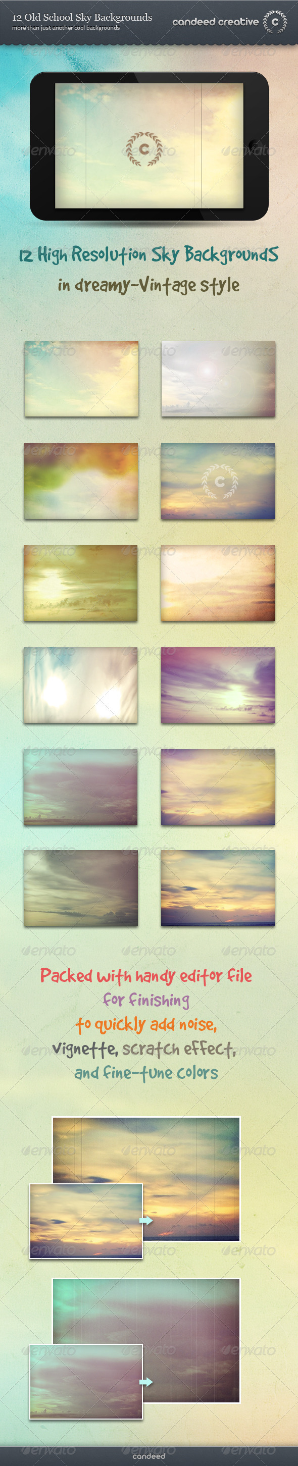 GraphicRiver 12 Old School Sky Backgrounds 3708107