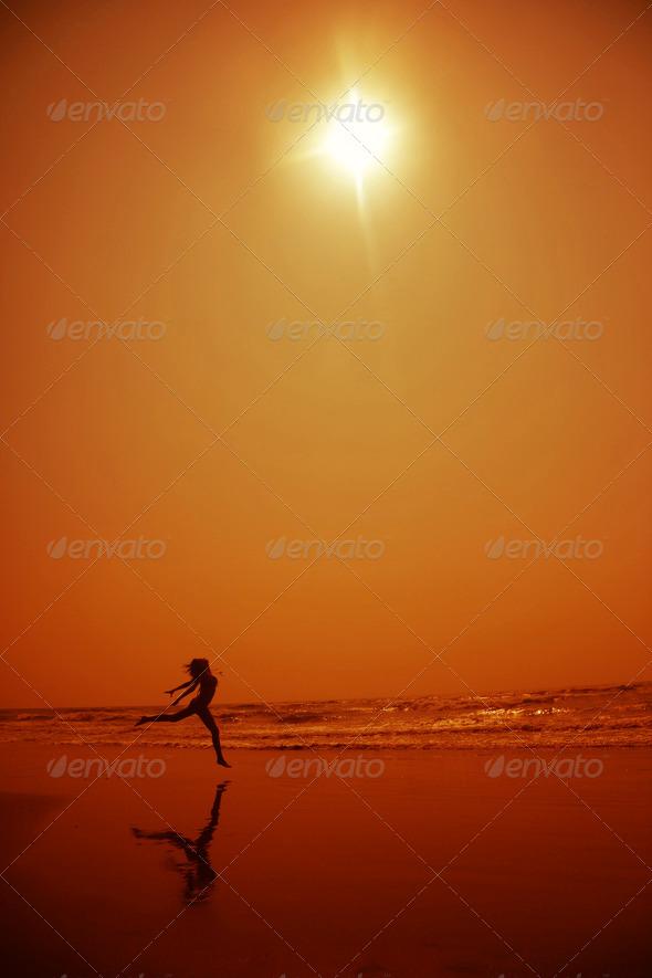 Dance in orange night - Stock Photo - Images