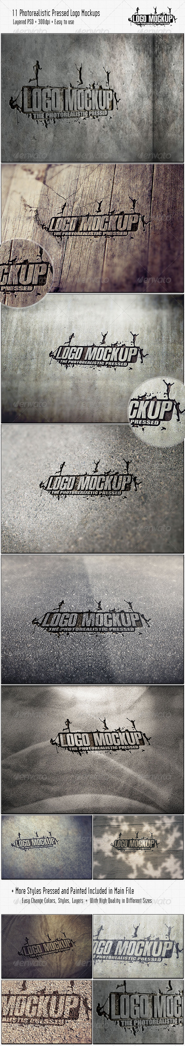 GraphicRiver 11 Photorealistic Pressed Logo Mock-Ups 3709656