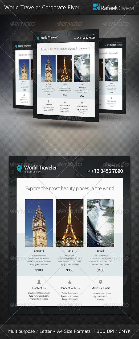 GraphicRiver World Traveler Corporate Flyer 3709668