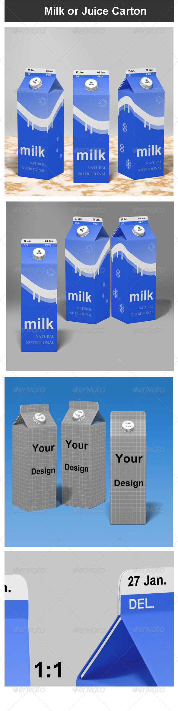 GraphicRiver Milk or Juice Carton Mock-up 3710485