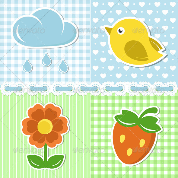 Summer Icons On Textile Backgrounds