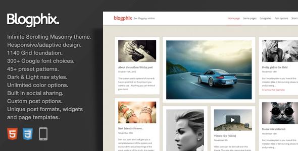 ThemeForest Blogphix An endless scrolling Wordpress theme 3666866