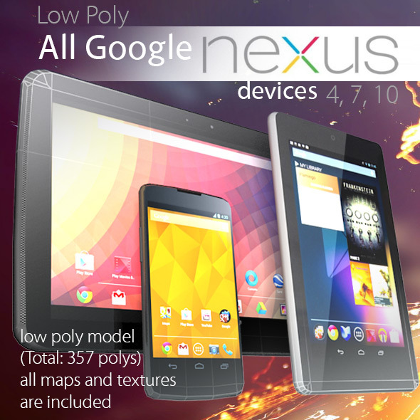 3DOcean All Google Nexus Devices Pack Low Poly 3711340
