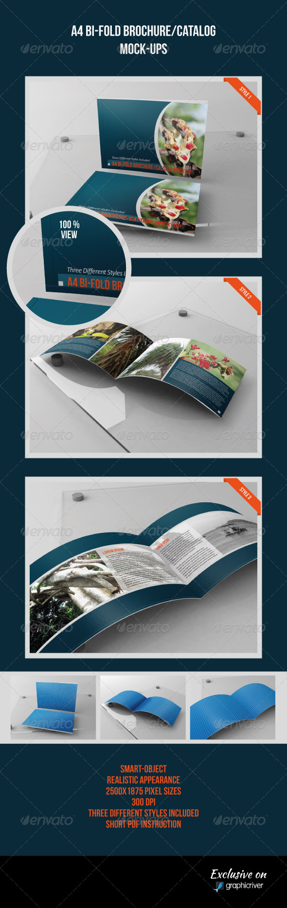 GraphicRiver A4 Bi-Fold Catalog Brochure Mock-Ups 3711411
