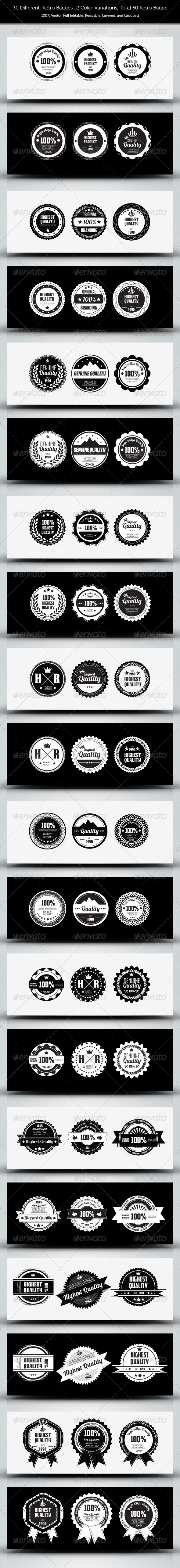 30 Genuine Quality - Retro Badges - Web Elements Vectors
