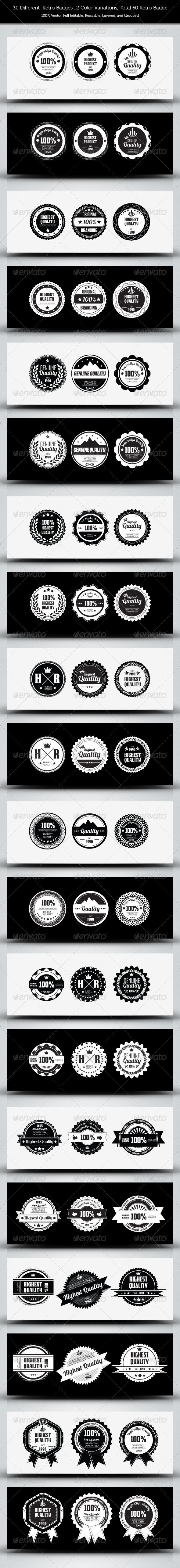 GraphicRiver 30 Genuine Quality Retro Badges 3656205