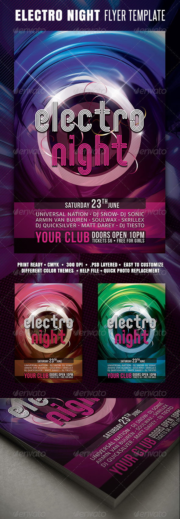 GraphicRiver Electro Night Flyer 3628184