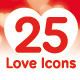 25 Love / Valentine's Day Icons - GraphicRiver Item for Sale