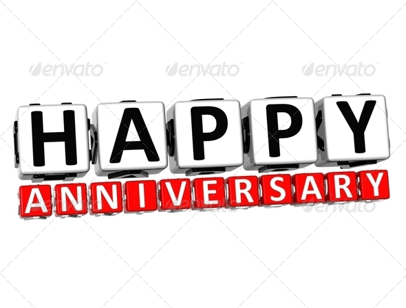Stock Photography - 3D Happy Anniversary Button Click Here Block Text ...