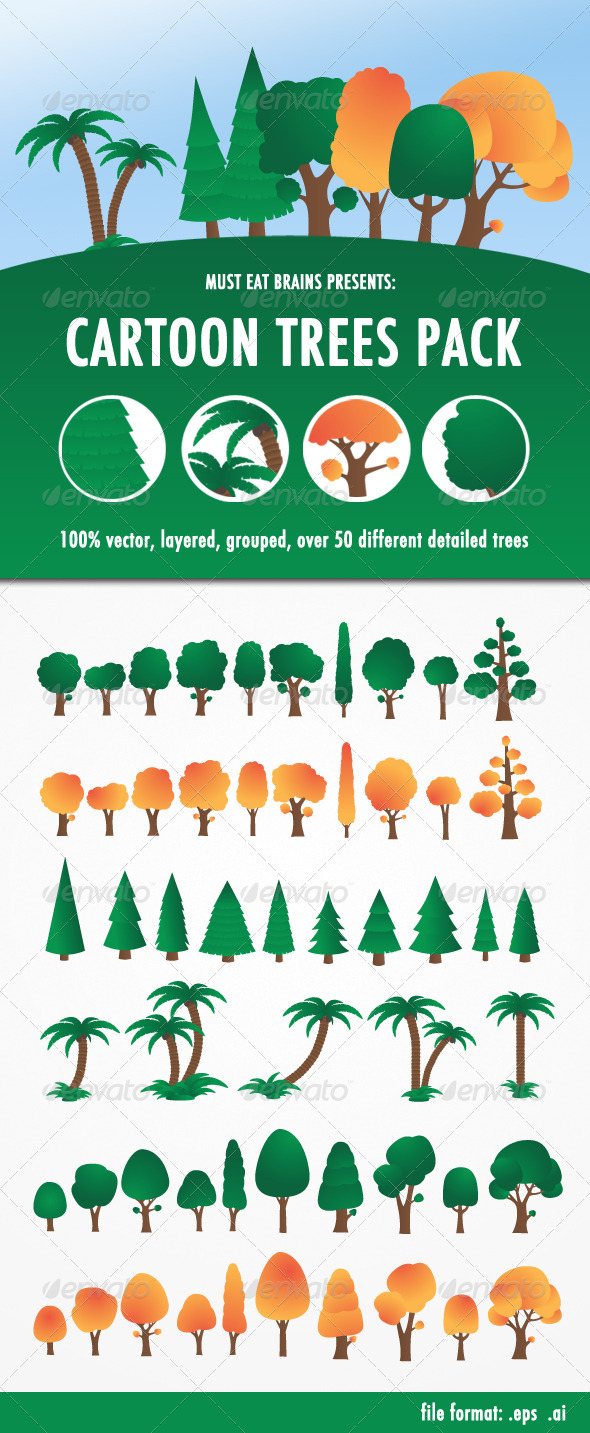 GraphicRiver Cartoon Trees Pack 3714961