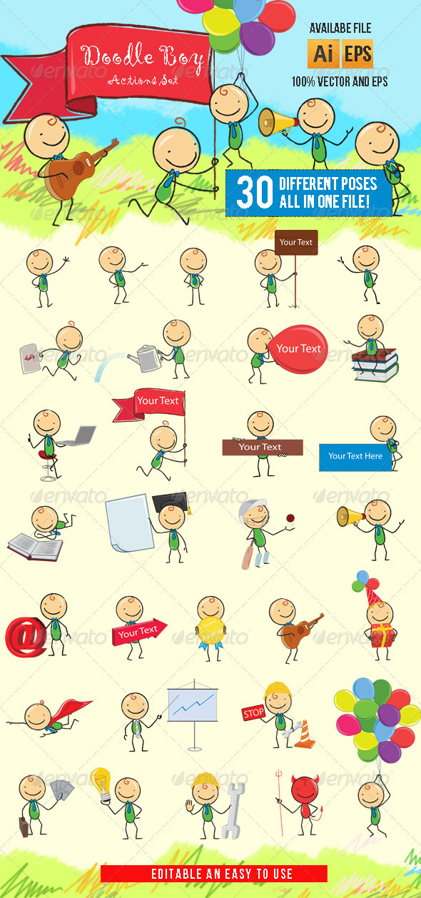 GraphicRiver Doodle Boy-Cartoon Character 3715017